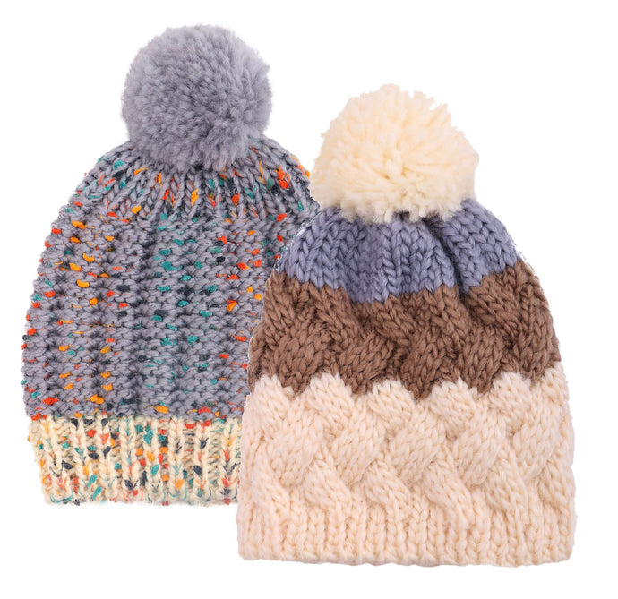 ARCTIC PAW Kids Chunky Cable Knit Beanie Winter Hat Ski Cap, Cream Stripe/Grey