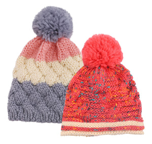 ARCTIC PAW Kids Chunky Cable Knit Beanie Winter Hat Ski Cap, Grey Stripe/Red