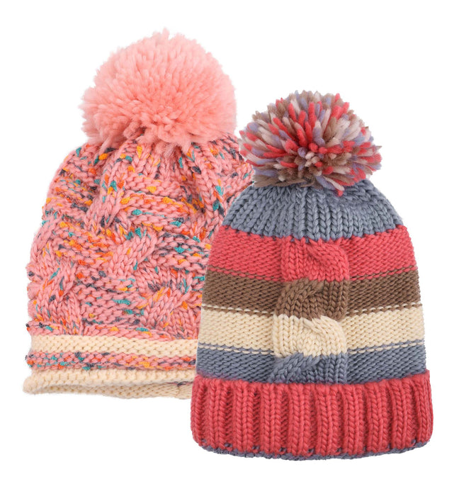 ARCTIC PAW Kids Chunky Cable Knit Beanie Winter Hat Ski Cap, Pink/Red Stripe