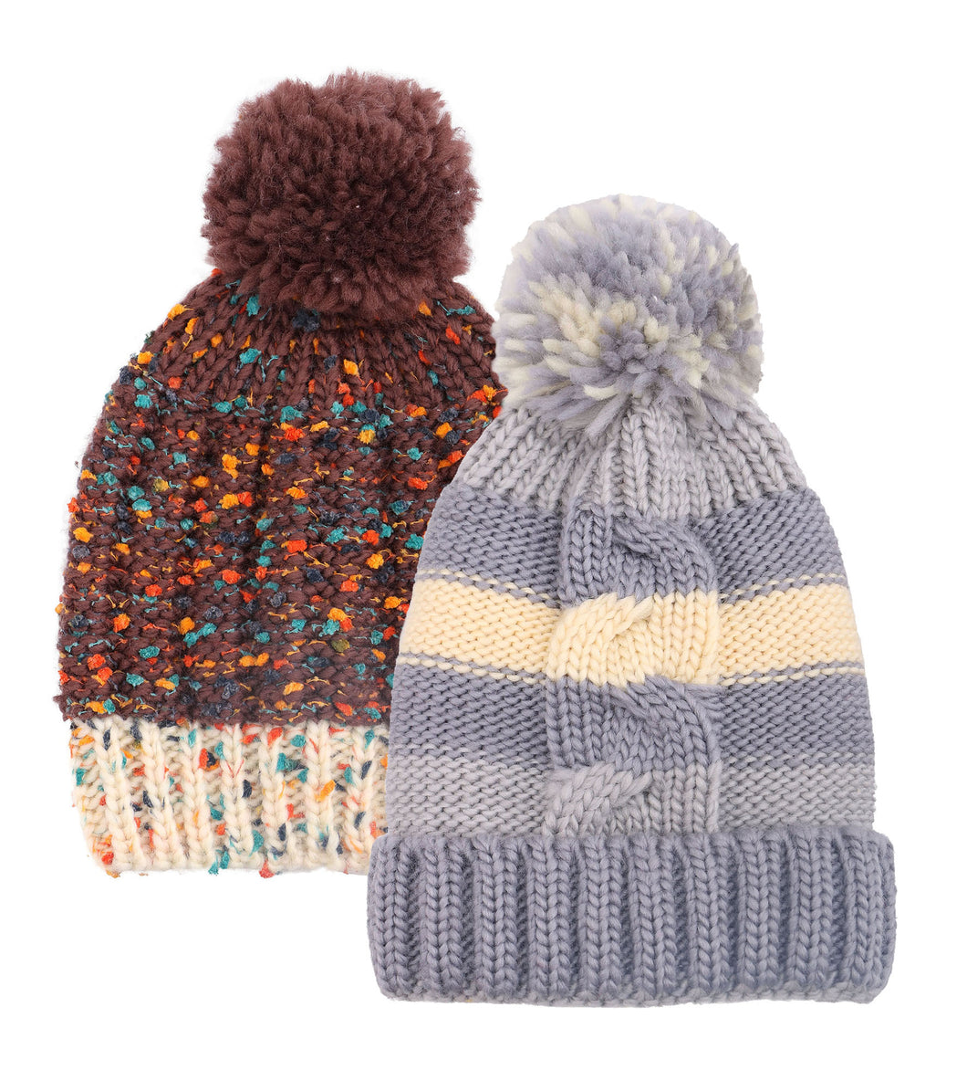 ARCTIC PAW Kids Chunky Cable Knit Beanie Winter Hat Ski Cap, Brown/Grey Stripe