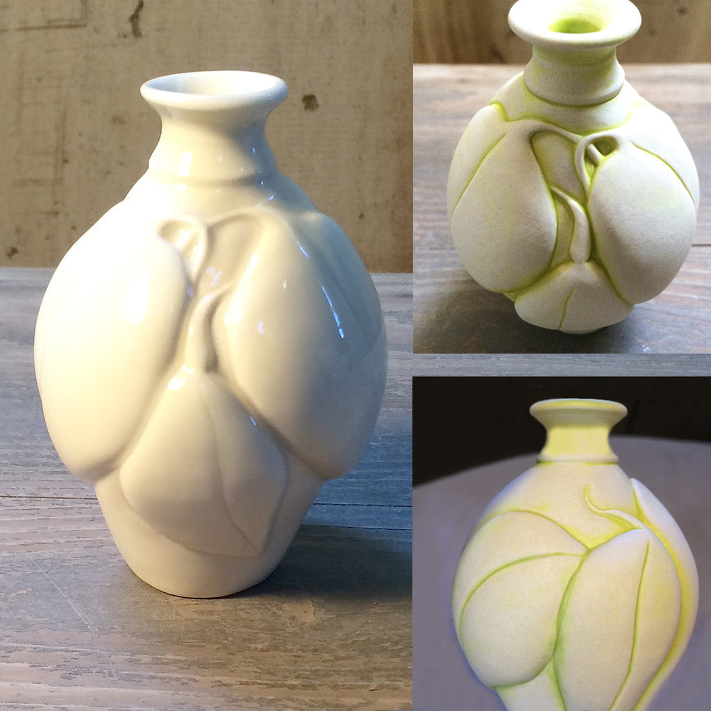 Intertwining-Leaf Hand-Carved Bud-Vase