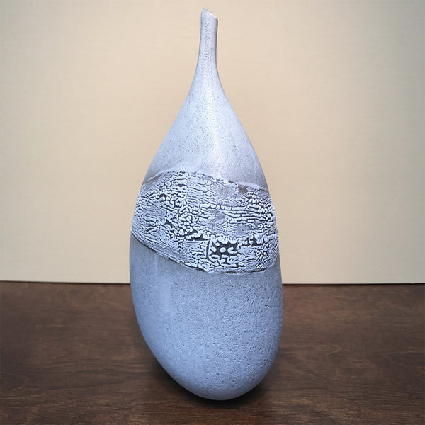 White, Wide-Bottom Vase