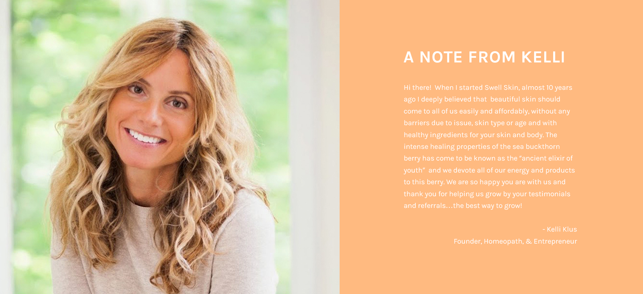 About SWELL SKIN & note from Founder Kelli Klus