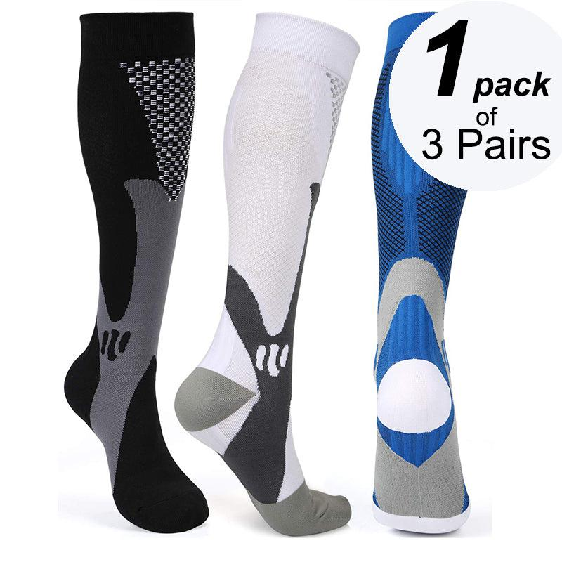 Best Graduated  Compression Socks 1 Pack of 3 Pairs - Black, White and Blue Color