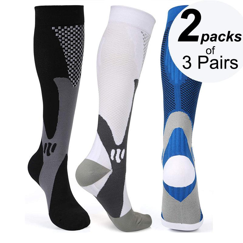 Graduated  Compression Socks 2 Packs of 3 Pairs - Black, White and Blue Color