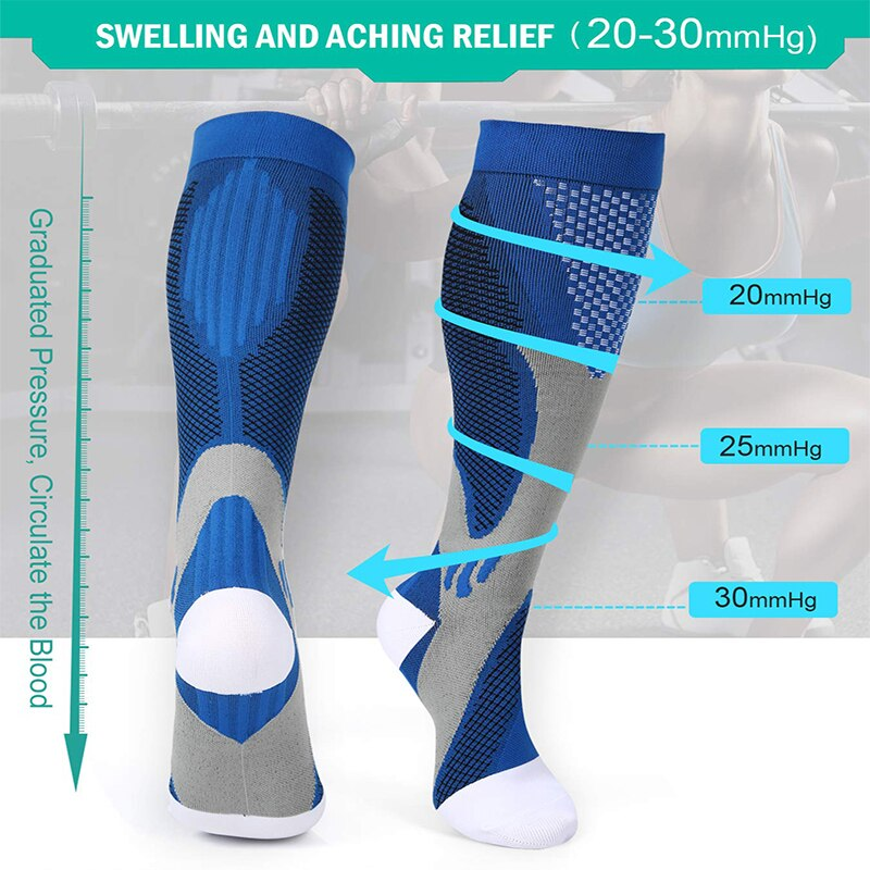 Graduated  Compression Socks (6 Pairs) - With 1 Pair Adjustable Leg Warmer