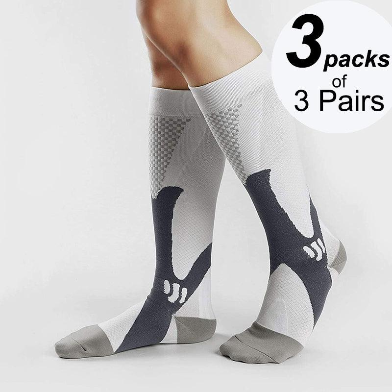 Best Graduated  Compression Socks for Running  3 Packs of 3 Pairs White Color