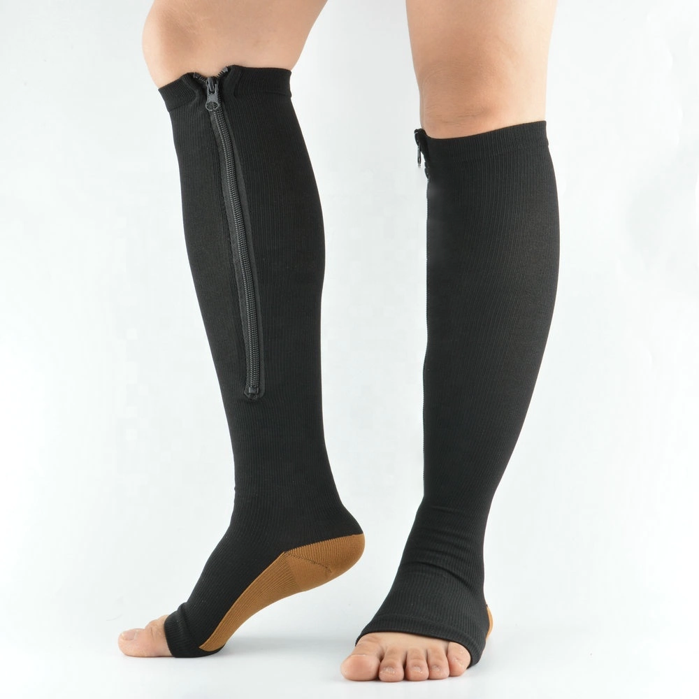 Premium Zipper Up Open Toe Compression Socks Pack of 3 for Men and Women