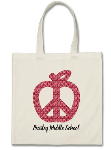 Customized apple peace symbol tote