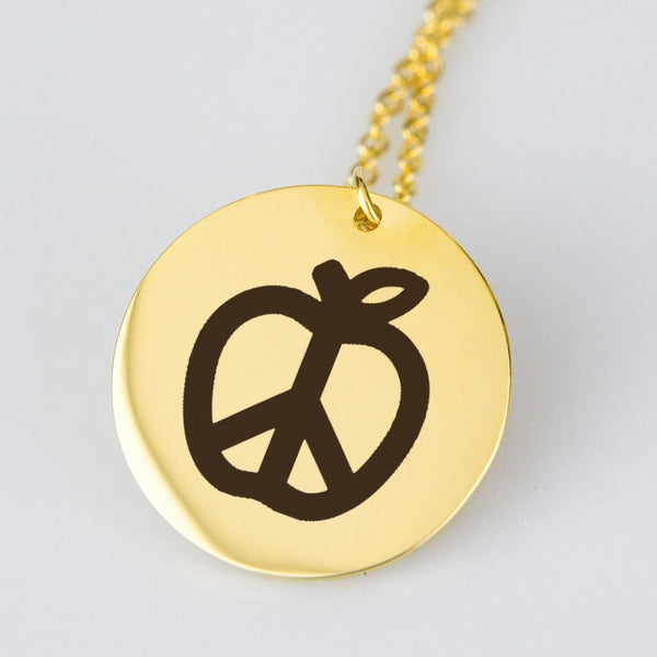 Teach Peace Engraved Pendant Necklace - Gold or Silver Plated Stainless Steel - Ships for free