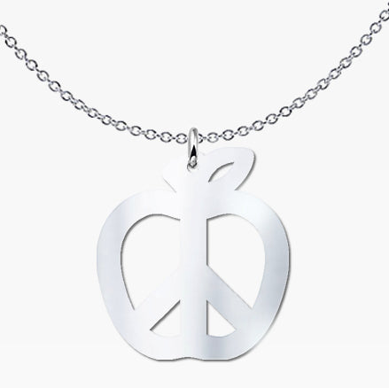 Teach Peace Apple Pendant Necklace - Sterling Silver - Free Shipping