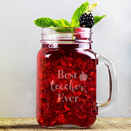 Best Teacher Ever Mason Jar Glass