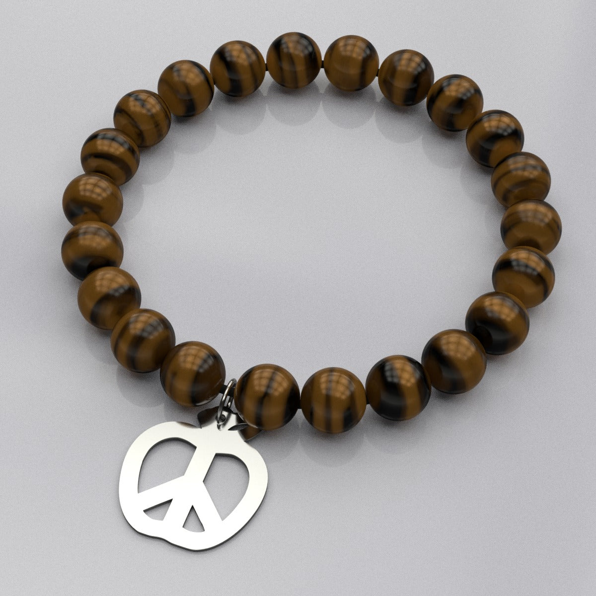 Teach Peace Bead Bracelet with Silver Charm - Free Shipping