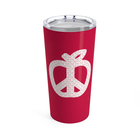 Teach Peace Apple Logo Cup - 20oz Teacher Tumbler Gift