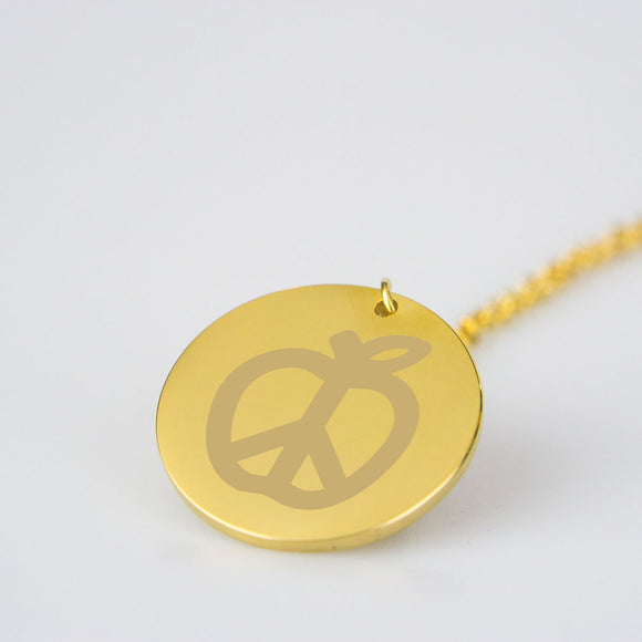 Teach Peace Engraved Pendant Necklace - Gold or Silver Plated - Ships for free
