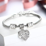 FREE PROMOTION! Teacher Heart Charm Bracelet - Crystal Jewelry - 3 Colors