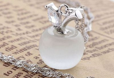 Crystal apple pendant necklace silver plated jewelry crystal apple pendant necklace silver plated jewelry mozeypictures Image collections