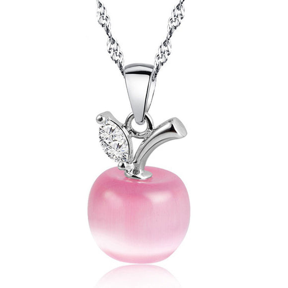 Crystal Apple Pendant Necklace - Silver Plated Jewelry