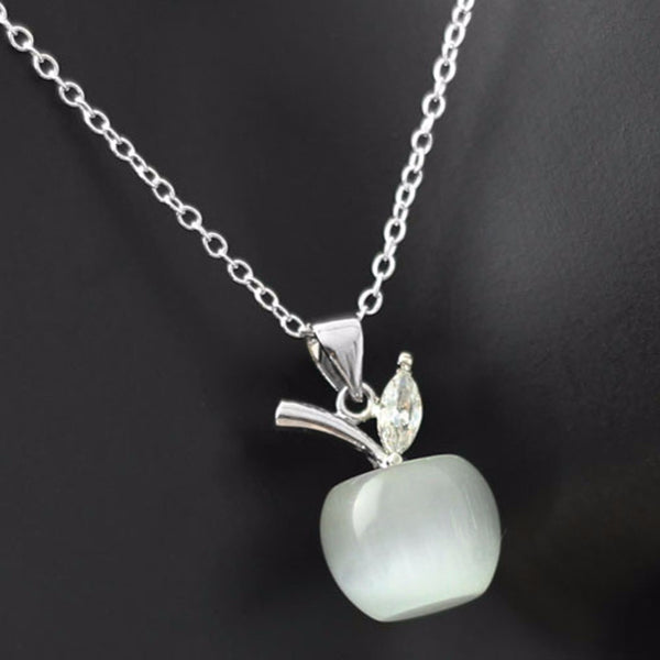 White apple pendant necklace teacher appreciation gift