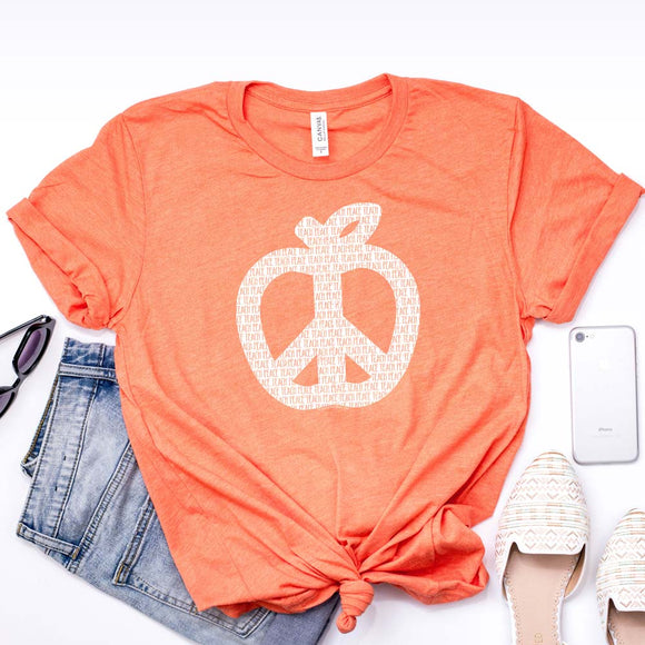 Teach Peace T Shirt Heather Orange