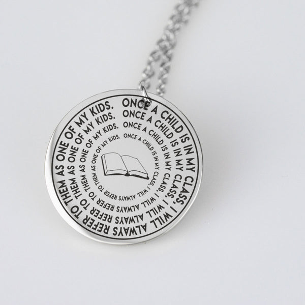 Students and Teachers Pendant Necklace - Gold or Silver Plated, Stainless Steel Base - Ships free