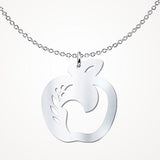 Teach Peace Apple and Dove Sterling Silver Pendant Necklace