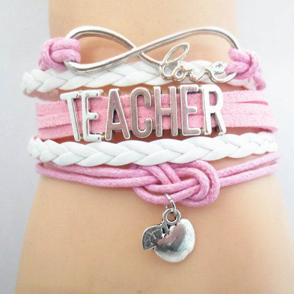Teacher Infinity Love Bracelet - Leather/Charm Jewelry