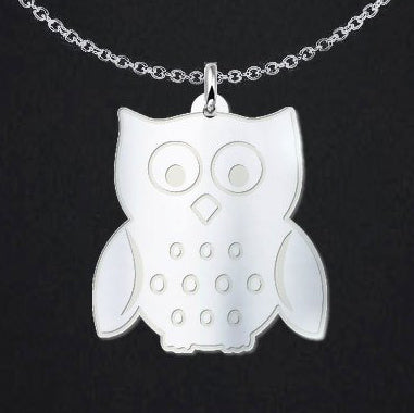 Adorable Owl Sterling Silver Necklace - Free Shipping