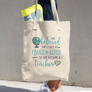 Change the World Teacher Cotton Tote Bag