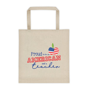 Proud to be an American and a Teacher Tote Bag | Apple Flag Design - Canvas