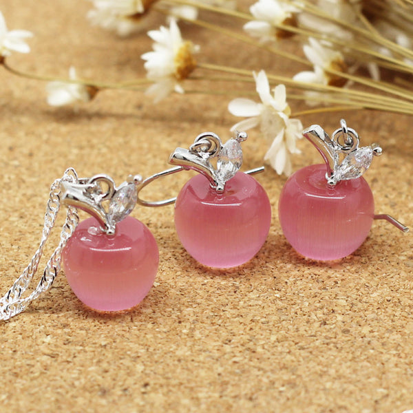 Teacher apple pendant necklace and earrings pink