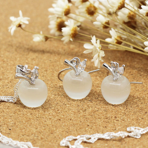 Teacher apple pendant necklace and earrings white
