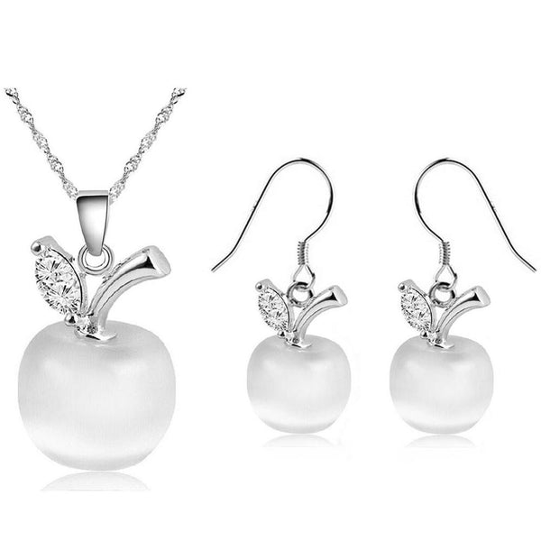 Crystal Apple Pendant Necklace & Earrings - Silver Plated Jewelry Set