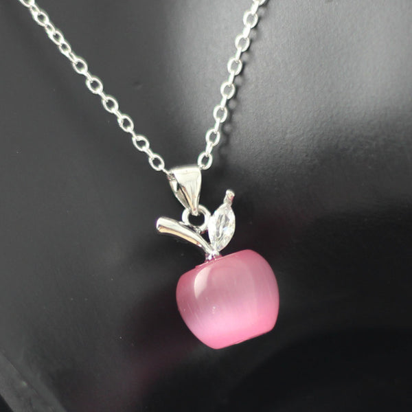 Pink apple pendant necklace teacher appreciation gift