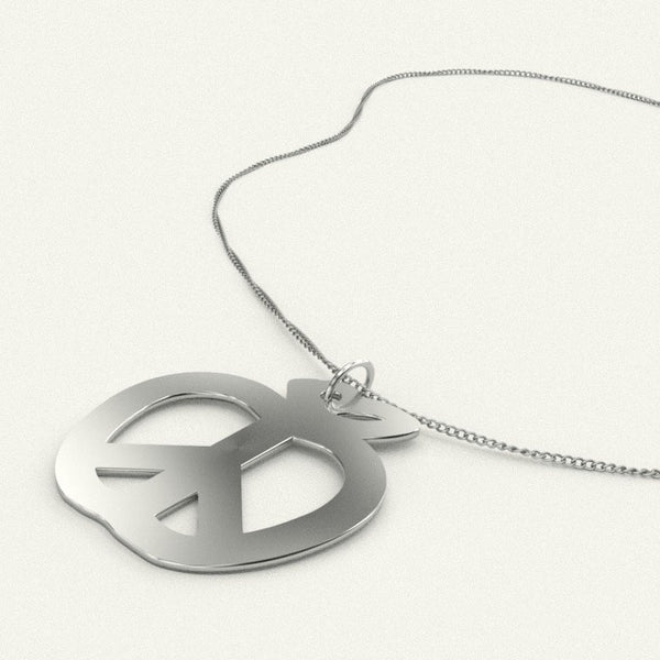 Teach Peace Apple Pendant Necklace - Silver Plated or Solid Sterling Silver
