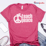 Teach Peace T-Shirt - Assorted Heather Colors