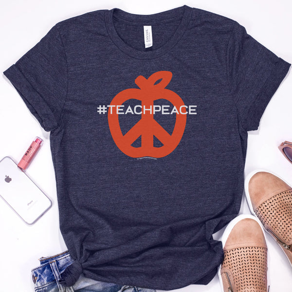 Teach Peace Hashtag Design Navy and Orange Shirt