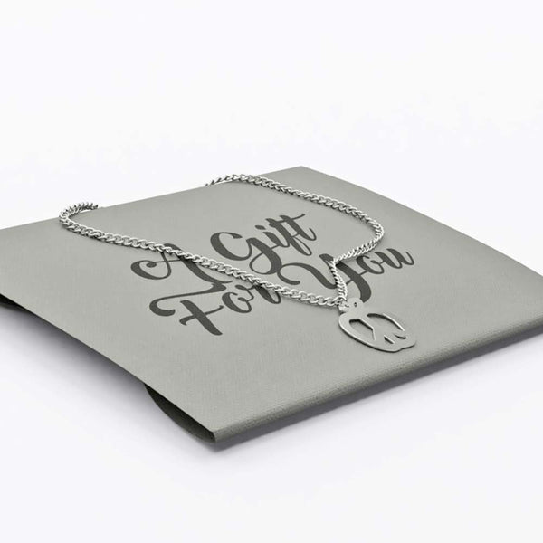 Foil stamped gift envelope packaging for silver-plated necklace