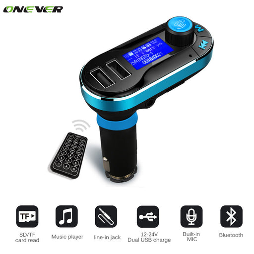 LCD Bluetooth Car FM Transmitter with Dual Charger Ports
