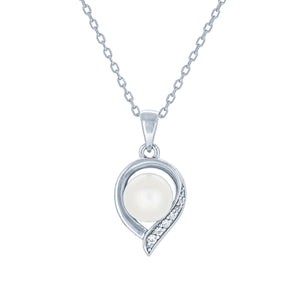(100003) 7-7.5mm Freshwater Cultured Pearl White Cubic Zirconia Pendant Necklace In Sterling Silver
