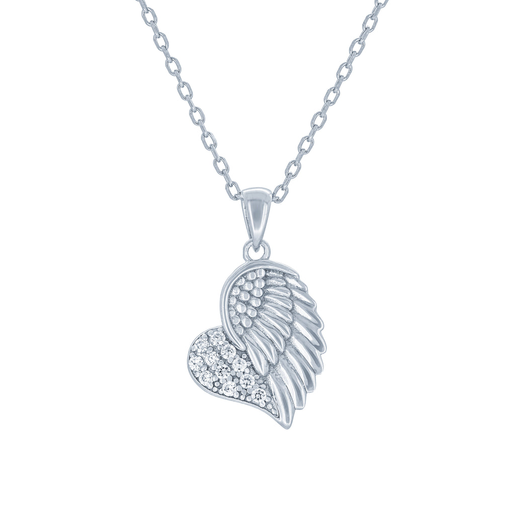 (100004) White Cubic Zirconia Heart With Angel Wing Pendant Necklace In Sterling Silver