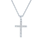 (100006) White Cubic Zirconia Cross Pendant Necklace