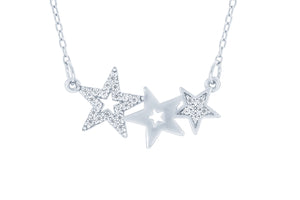 (100008) White Cubic Zirconia Stars Necklace In Sterling Silver