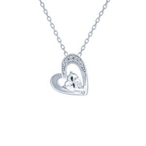 (100010) White Cubic Zirconia Heart Pendant Necklace In Sterling Silver