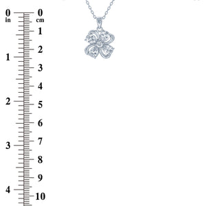 (100011) White Cubic Zirconia Pendant Necklace In Sterling Silver