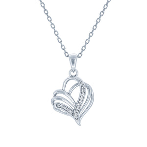 (100012) White Cubic Zirconia Heart Pendant Necklace In Sterling Silver