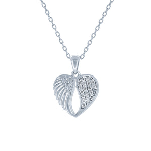 (100013) White Cubic Zirconia Heart With Angel Wing Pendant Necklace In Sterling Silver