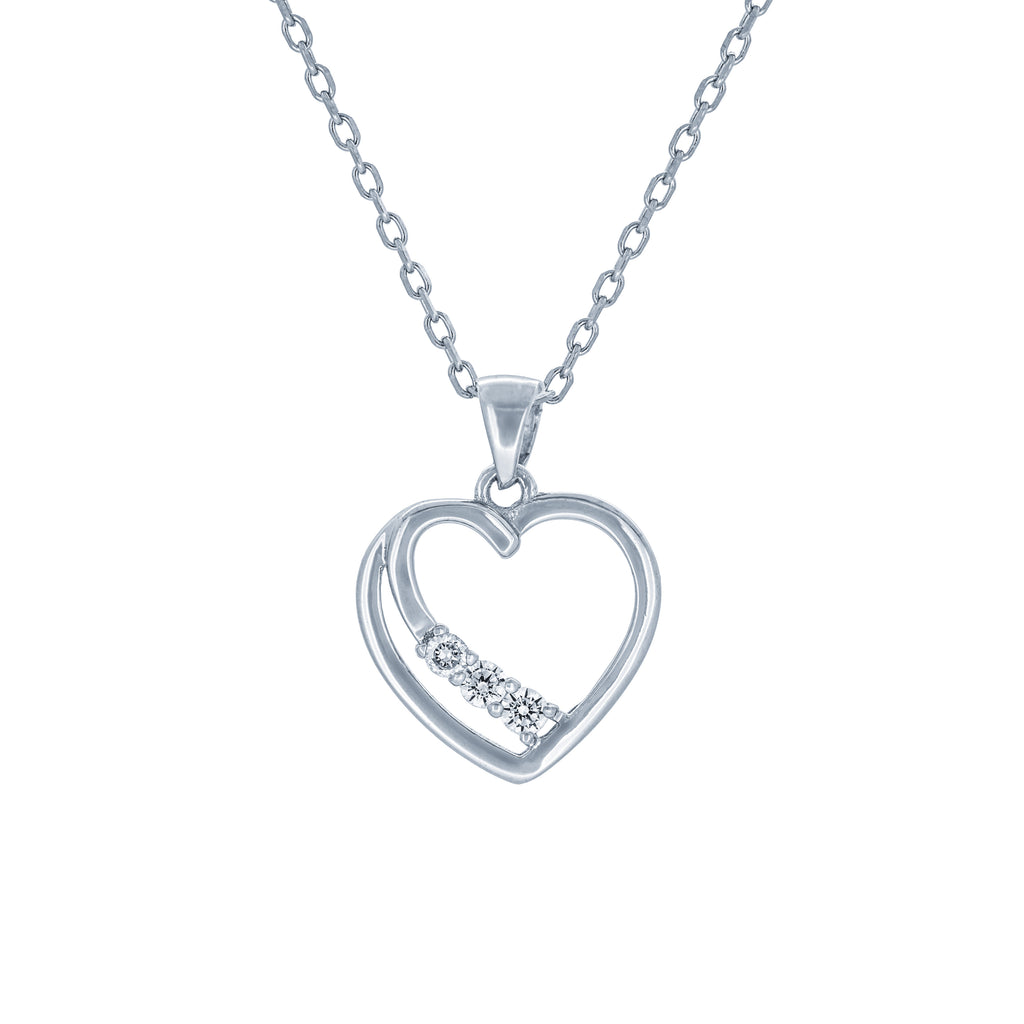 (100014) White Cubic Zirconia Heart Pendant Necklace In Sterling Silver