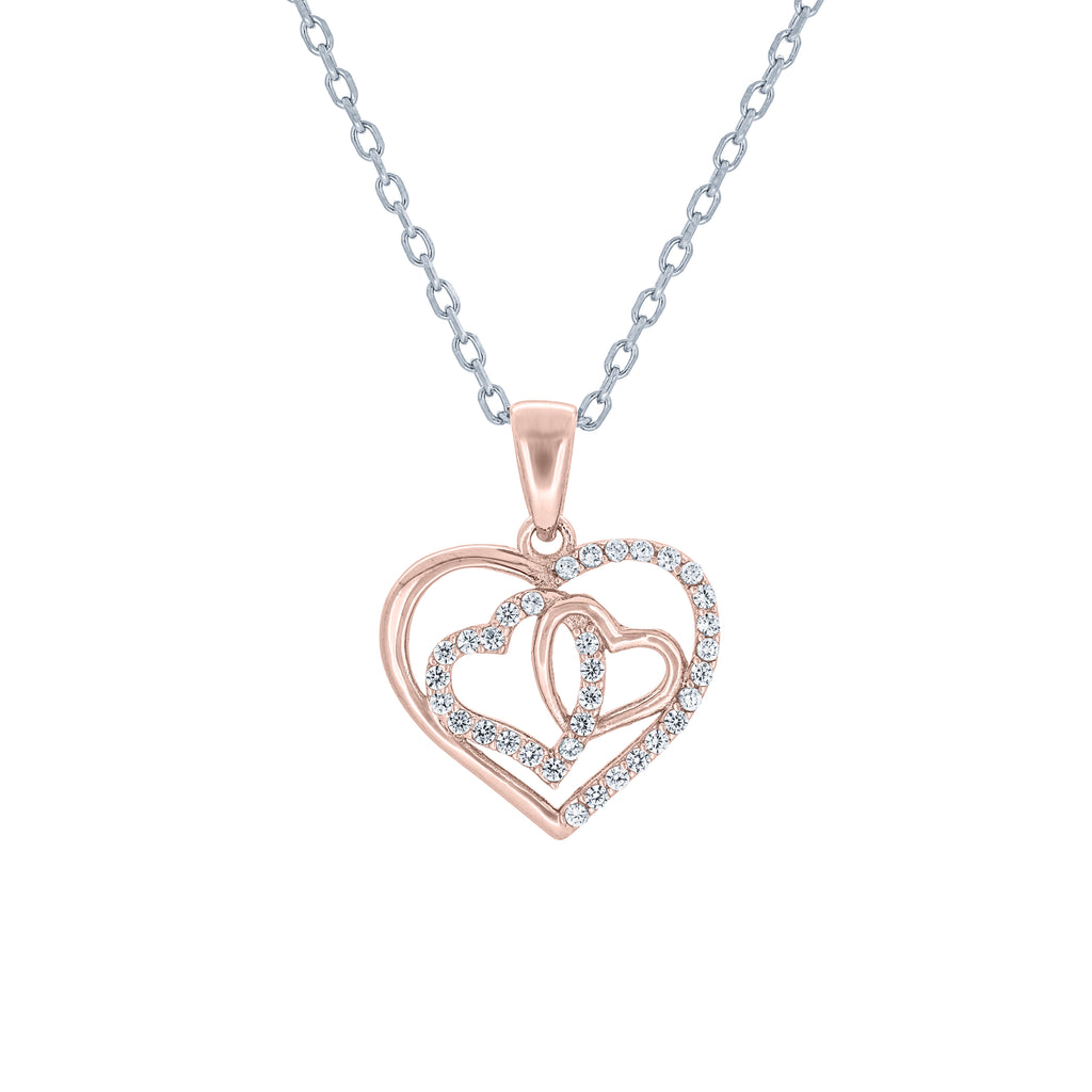 (100015A) White Cubic Zirconia Heart Pendant Necklace In Sterling Silver and Rose Gold Plate