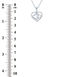 (100015) White Cubic Zirconia Heart Pendant Necklace In Sterling Silver